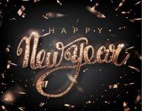 För bokstäverhälsning för lyckligt nytt år kort för ferie Rose Golden konfettinedgångar Kalligrafi som märker nytt år Vektor Illu royaltyfri illustrationer