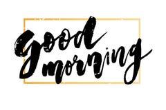 För bokstäverkalligrafi för bra morgon ram för typografi för uttryck för text för vektor guld- royaltyfri illustrationer