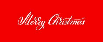 För bokstävertext för glad jul handskriven ferie p för inskrift stock illustrationer