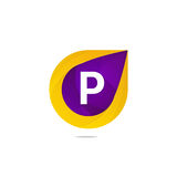 För bokstavslogo för gyckel plant P tecken Abstrakt vektor för formbeståndsdelsymbol Royaltyfria Bilder