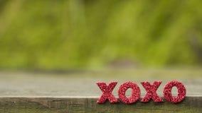 ` För bokstavsord` XOXO på det wood golvet royaltyfri bild