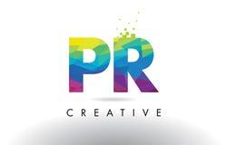 För bokstavsorigami för PR P R färgrik vektor för design för trianglar Royaltyfria Bilder