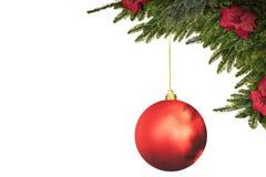 För bollgarnering för jul sörjer röd bakgrund, för hälsa kort arkivbild