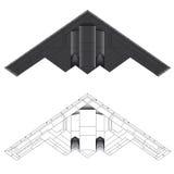 för bombplanillustration för 2 b vektor för stealth Arkivbild