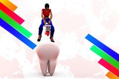 för borstetänder för kvinnor 3d illustration Royaltyfria Foton