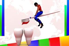 för borstetänder för kvinnor 3d illustration Royaltyfri Bild