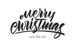 För borstetyp för vektor handskriven calligraphic bokstäver av glad jul och det lyckliga nya året vektor illustrationer