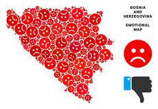 För Bosnien och Hercegovina för vektor olycklig mosaik översikt av ledsna Emojis vektor illustrationer