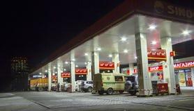 för bränslepetrol för bil fyllande station Arkivfoto