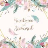 För bröllopinbjudan för geometri guld- kort med blomman, blad, band, wr stock illustrationer