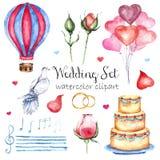 För bröllopstil för vattenfärg modern elegant uppsättning Olika objekt: brudbukett med rosor, pion, rosa färgskor, naken kaka Royaltyfri Bild