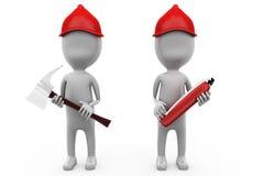 för brandarbetare för man 3d begrepp Arkivfoto