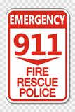 för brandräddningsaktion för symbol 911 tecken för polisen på genomskinlig bakgrund royaltyfri illustrationer