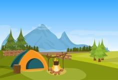 För brandskog för tält horisontalcampa lägenhet för begrepp för semester för expedition för berg royaltyfri illustrationer