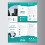 För broschyrbroschyr för abstrakt grön polygon trifold design för mall för reklamblad, bokomslagorienteringsdesign royaltyfri illustrationer