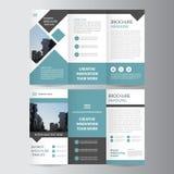 För broschyrbroschyr för blå svart trifold design för mall för reklamblad, bokomslagorienteringsdesign, blåa presentationsmallar  stock illustrationer