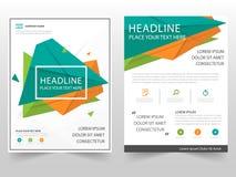 För broschyrbroschyr för grön orange triangel geometrisk design för mall för årsrapport för reklamblad, bokomslagorienteringsdesi stock illustrationer