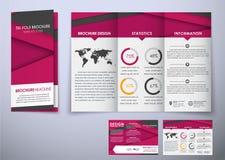 För broschyrdesign för mall trefaldigt hopfällbart material för stil Arkivbilder