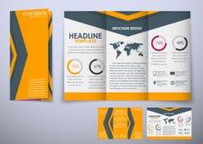 För broschyrdesign för mall trefaldigt hopfällbart material för stil Royaltyfri Foto