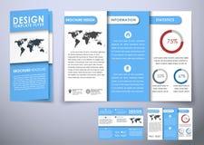 För broschyrdesign för mall trefaldigt hopfällbart material för stil Arkivfoton