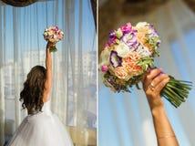 för brudbrudgum för bukett brud- händer Royaltyfri Foto