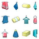 För brunnsortbad för handduk ställde hängande symboler in, tecknad filmstil vektor illustrationer