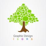 För bubblalogo för grafisk design träd för abstrakt begrepp Arkivfoton
