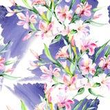 För bukettalstroemeria för vattenfärg färgrik blomma Blom- botanisk blomma Seamless bakgrund mönstrar Royaltyfria Foton