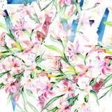 För bukettalstroemeria för vattenfärg färgrik blomma Blom- botanisk blomma Seamless bakgrund mönstrar Royaltyfri Fotografi