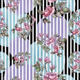 För bukettpion för vattenfärg rosa blomma Blom- botanisk blomma Seamless bakgrund mönstrar stock illustrationer