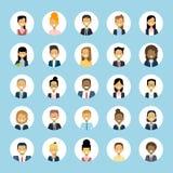 För And Businesswoman Profile för affärsman för man- och kvinnaAvatars manlig kvinnlig framsida för fastställd symboler för samli royaltyfri illustrationer