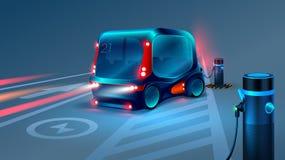 För buss- eller minibussuppladdning för elkraft smart station Framtida begrepp royaltyfri illustrationer