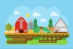 För bylandskap för vektor jordbruks- illustration för begrepp för lägenhet Byladugård, lagerbyggnader med det sådde fältet och vektor illustrationer