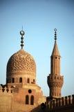 för cairo för al azhar moské för minaret kupol Arkivbilder