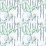 För Callablommor för sömlös vattenfärg vit modell Arkivfoton