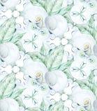 För Callablommor för sömlös vattenfärg vit modell Royaltyfri Bild