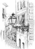 För Camogli för bläckpenna grafisk lampa gata arkivbild