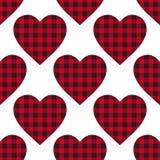 För cellhjärta för vektor röda sömlösa patern bakgrunder och svart färg Abstrakt rutig bur för bakgrundmodetorkduk fotografering för bildbyråer