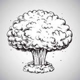 För champinjonmoln för kärn- explosion vektor för illustration för teckning royaltyfri illustrationer