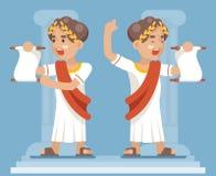 För CharacterIcon för snirkelförklaringRoman Greek Retro Vintage Businessman tecknad film illustration för vektor för design läge stock illustrationer