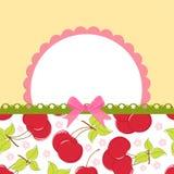 för Cherryhälsningar för blankt kort mall stock illustrationer