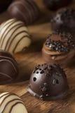 För chokladtryffel för gourmet utsmyckad mörk godis Arkivfoto