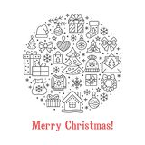 För cirkelbaner för glad jul illustration med den plana linjen symboler Hälsningkortet för det nya året sörjer trädet, gåvor, gåv vektor illustrationer