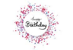 För cirkelbanret för den lyckliga födelsedagen ramen med att falla för konfettier, papper och band sprider explosionen, parti för stock illustrationer