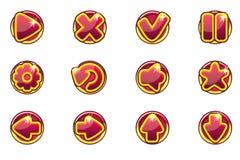 För cirkelsamlingen för vektorn spelar röda knappar för uppsättningen för Ui royaltyfri illustrationer