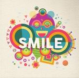 För citationsteckenaffisch för leende inspirerande design Arkivfoto