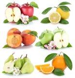 För citronpersikan för äpplet bär frukt orange colle för ny frukt för apelsiner för äpplen Arkivfoto