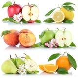 För citronpersikan för äpplet bär frukt orange isolat för samlingen för apelsiner för äpplen Fotografering för Bildbyråer