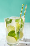 för citrus vatten för sommar drinkis för karaff orange Nya Mojito med limefrukt och mintkaramellen background card congratulation Royaltyfria Foton