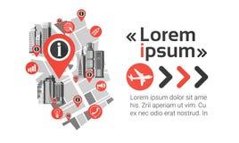 För Cityscapebakgrund för Gps Pin Map Over City View horisont för navigering med kopieringsutrymme Infographic Arkivbilder